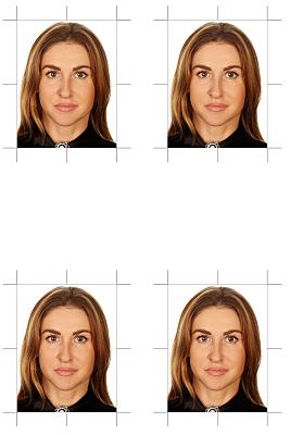 4-er Set biometische Passbilder